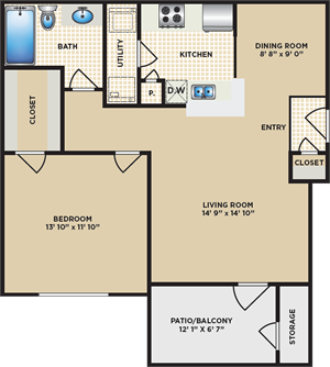 A - One Bedroom / One Bath - 750 Sq. Ft.*