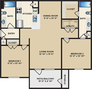 B - Two Bedroom / Two Bath - 1,000 Sq. Ft.*